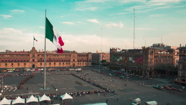 Zocalo flag lowering timelapse Mexico City
