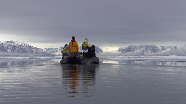 Zodiac ride with passengers, Svalbard, Norway