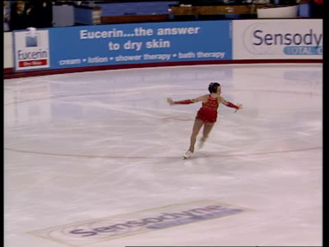 Zoe Jones performs combination of triple toe loop and double toe loop during short programme British Figure Skating Championships Belfast Nov 99
