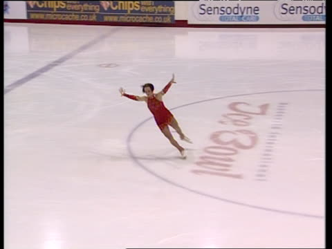 zoe jones performs layback spin during short programme, british figure skating championships, belfast; nov 99 - figure skating stock videos & royalty-free footage