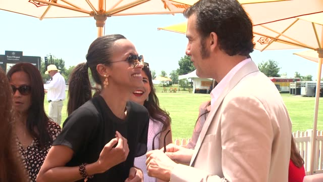 zoe saldana and clive owen at the fifth annual veuve clicquot polo classic at liberty state park on june 02 2012 in jersey city new jersey - 動物を使うスポーツ点の映像素材/bロール