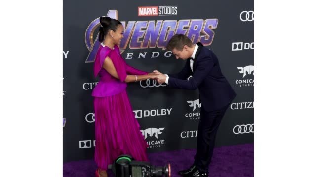 Zoe Saldana and Jeremy Renner at the World Premiere of Marvel Studios' 'Avengers Endgame' at Los Angeles Convention Center on April 22 2019 in Los...