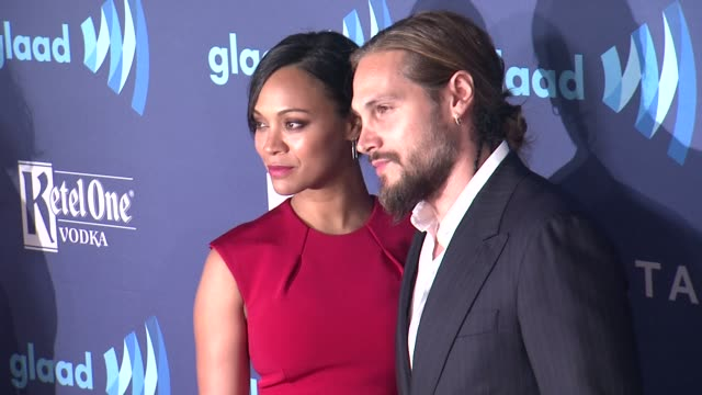 zoe saldana and marco perego at the 26th annual glaad media awards at the beverly hilton hotel on march 21 2015 in beverly hills california - the beverly hilton hotel stock videos & royalty-free footage