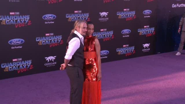 Zoe Saldana and Marco Perego at the 'Guardians of the Galaxy Vol 2' Los Angeles Premiere at Dolby Theatre on April 19 2017 in Hollywood California