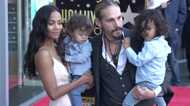 zoe saldana and marco perego at the zoe saldana honored with a star on the hollywood walk of fame on may 03 2018 in hollywood california - walk of fame stock videos & royalty-free footage