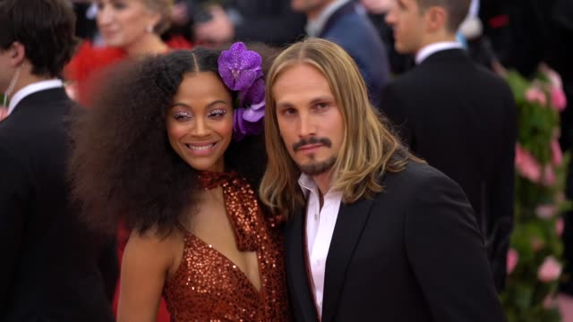 zoe saldana at the 2019 met gala celebrating camp notes on fashion arrivals at metropolitan museum of art on may 06 2019 in new york city - met gala 2019 stock videos and b-roll footage