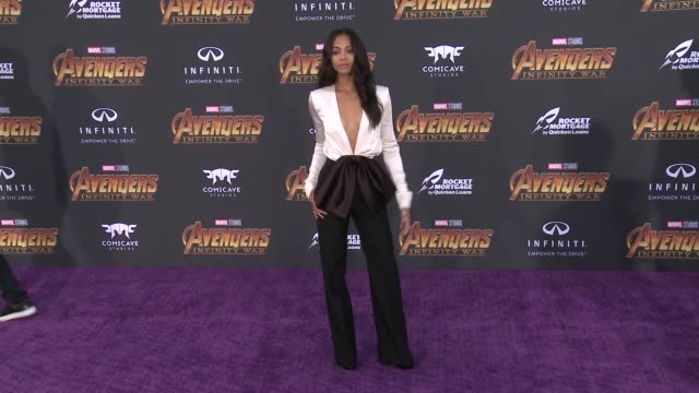 Zoe Saldana at the Avengers Infinity War World Premiere on April 23 2018 in Hollywood California