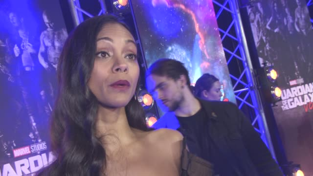 Zoe Saldana at The European Gala of 'Guardians of the Galaxy Vol 2' at Eventim Apollo on April 24 2017 in London England