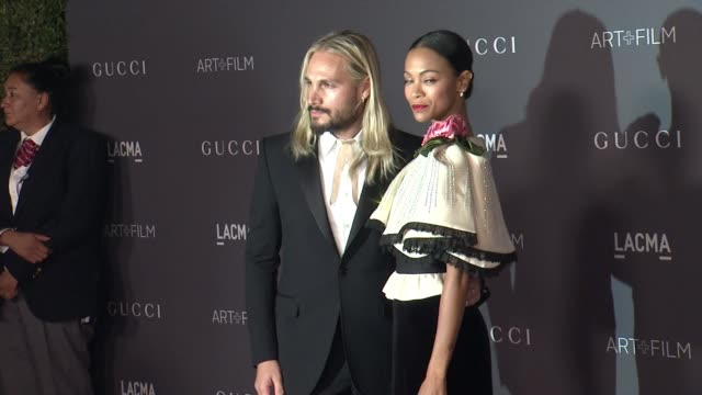 Zoe Saldana Marco Perego at 2017 LACMA Art Film Gala Honoring Mark Bradford and George Lucas Presented by Gucci in Los Angeles CA