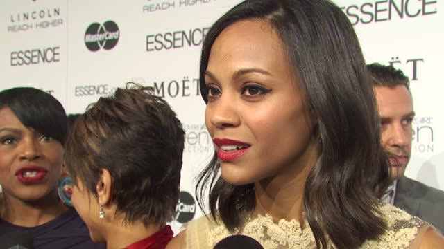 zoe saldana on how she feels to be honored her thoughts on the other honorees and what makes essence such a unique and special publication at the 3rd... - maglietta senza maniche video stock e b–roll