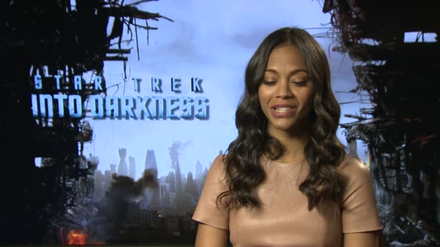 INTERVIEW Zoe Saldana on learning Kilingon working with a Kilingon lingustic at 'Star Trek Into Darkness' UK Junket Interviews at Corinthia Hotel...