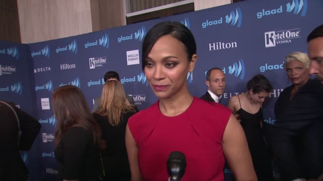 INTERVIEW Zoe Saldana on the GLAAD Awards at the 26th Annual GLAAD Media Awards at The Beverly Hilton Hotel on March 21 2015 in Beverly Hills...