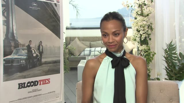 INTERVIEW Zoe Saldana on working with the rest of the cast at 'Blood Ties' Interview at Palais des Festivals on May 21 2013 in Cannes France