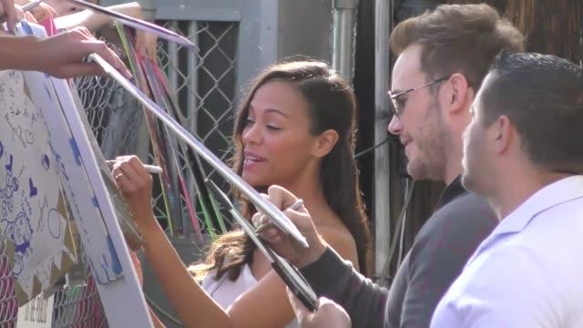 Zoe Saldana outside Jimmy Kimmel Live in Hollywood in Celebrity Sightings in Los Angeles