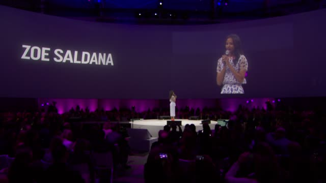 SPEECH Zoe Zaldana takes stage and announces her new show on AOL Originals called My Hero at 2014 AOL NewFronts at the Duggal Greenhouse on April 29...