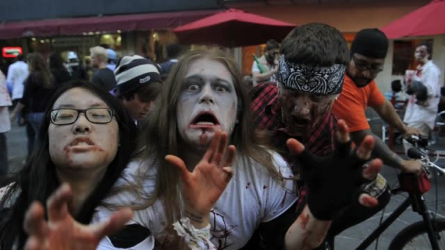 zombies of all ages shapes and sizes converged on the 16th street mall for denvers 6th annual zombie crawl october 22 2011 denver zombie crawl at... - zombie stock videos & royalty-free footage