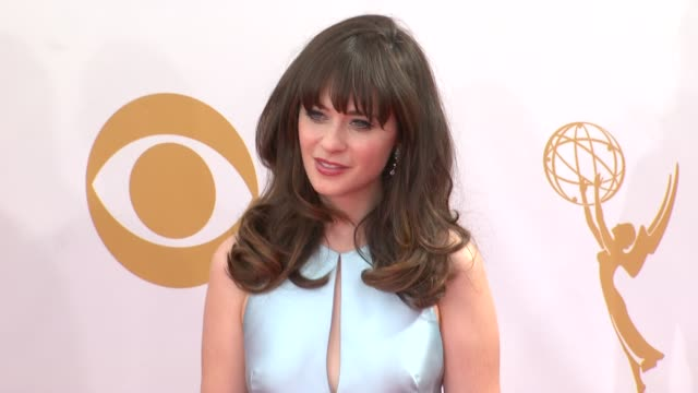 zooey deschanel at the 65th annual primetime emmy awards arrivals in los angeles ca on 9/22/13 - annual primetime emmy awards stock-videos und b-roll-filmmaterial