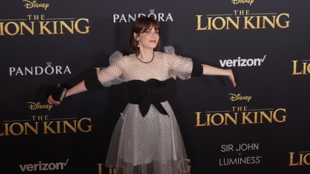Zooey Deschanel at the World Premiere of Disney's The Lion King at Dolby Theatre on July 09 2019 in Hollywood California