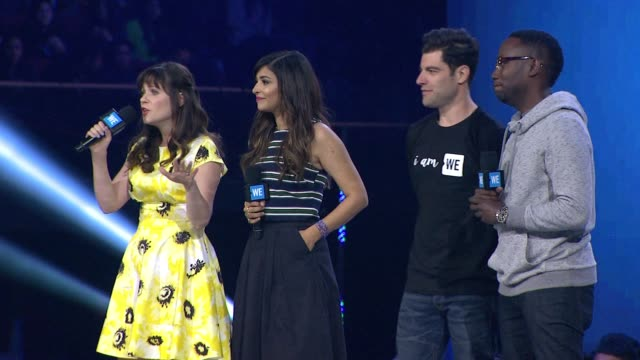 speech zooey deschanel hannah simone max greenfield and lamorne morris at we day california at the forum on april 07 2016 in inglewood california - inglewood stock videos and b-roll footage