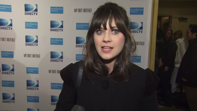 Zooey Deschanel on the screening and questions from the audience at the DIRECTV hosts the premiere dinner for the cast of MY IDIOT BROTHER starring...