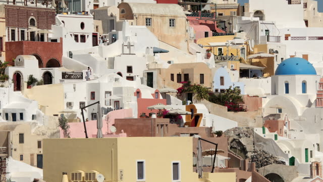 zoom back oia day 4a - oia santorini stock videos & royalty-free footage