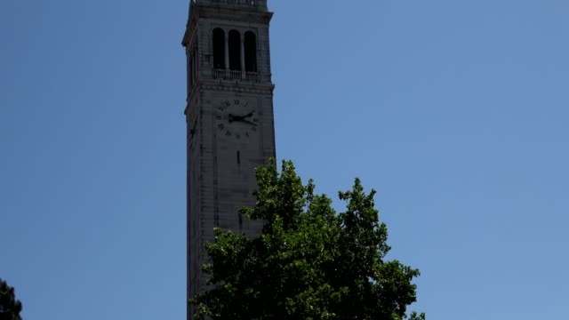 Zoom down Sather Tower aka the Campanile on the campus of UC Berkeley in Berkeley California to cars passing in front of campus buildings May 21 2018