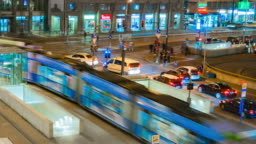 Zoom in 4K Time-Lapse :Nightlife transport in Munich ,Germany