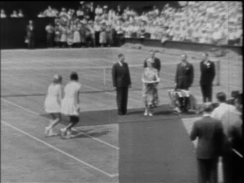 B/W 1957/58 zoom in Althea Gibson Darlene Hard curtsey approach Queen Elizabeth for trophy