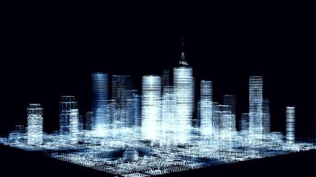 zoom bei digitaler stadtdrehung - drahtrahmenmodell stock-videos und b-roll-filmmaterial