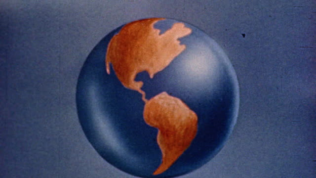 1945 animated zoom in globe with people shaking hands / zoom out all joining hands - 拉遠 個影片檔及 b 捲影像