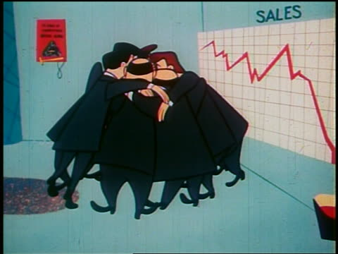 1948 animated zoom in group of businessmen huddling in general managers office for pep talk - 1948 stock-videos und b-roll-filmmaterial