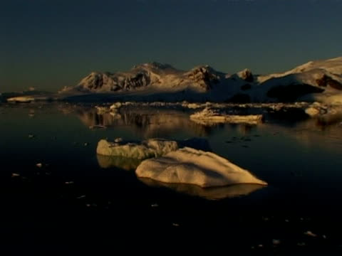 wa zoom in, ice floes in still sea against mountainous horizon at dusk, paradise bay area, antarctic peninsula - antarctic peninsula stock videos & royalty-free footage