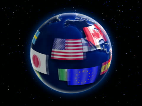 cgi zoom in international flags revolving around rotating globe / starscape in background - national flag stock videos & royalty-free footage