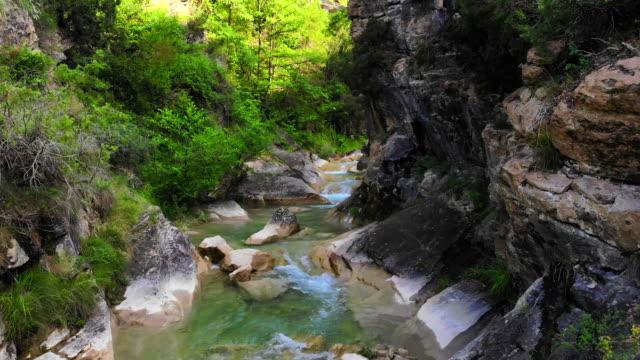 zoom in motion video of beautiful emerald green color river in the catalan pyrenees. pozas de color verde esmeralda en los pirineos catalanes ha vista de drone. - verde color stock videos & royalty-free footage
