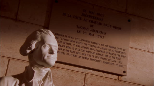 Zoom in on bust of Thomas Jefferson and quotation on plaque commemorating his 1787 visit to Chateau Haut-Brion / Pessac, Graves, France