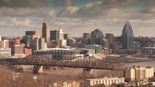 zoom in on skyline and bridge stretching over ohio river in cincinnati. clouds pass overhead. - produced segment stock videos & royalty-free footage