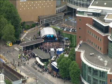 Zoom in on stage in grounds of BBC Television Centre during one-off Coldplay gig White City; 18 June 2008
