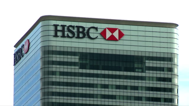 zoom in on the hsbc sign at 8 canada square - zoom stock videos & royalty-free footage