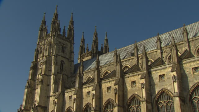 zoom in on the two towers of canterbury cathedral. - canterbury cathedral stock videos & royalty-free footage