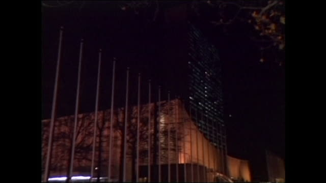zoom in on united nations headquarters at night; 1992 - united nations stock videos & royalty-free footage