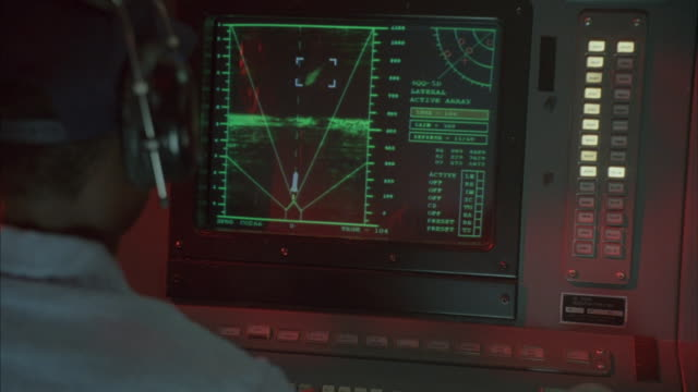 zoom in over the shoulder of an operator as a radar screen flashes and shows a missile being launched. - control panel stock videos & royalty-free footage