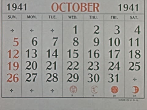 1941 ANIMATION zoom in pages of 1941 calendar fall away, showing passage of time