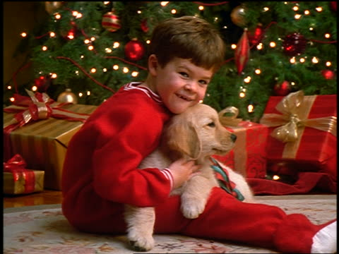 zoom in PORTRAIT small boy in pajamas holding puppy on lap + hugging it in front of Christmas tree