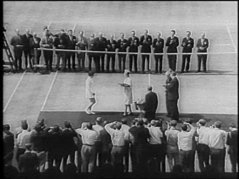 b/w 1966 zoom in princess marina awarding trophy to billie jean king at wimbledon / newsreel - billie jean king stock videos & royalty-free footage