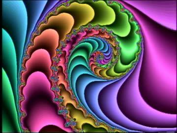 vídeos y material grabado en eventos de stock de cgi zoom in rainbow-colored changing fractal - psicodélico