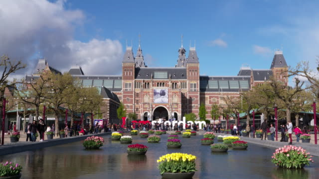 Zoom in. Rijksmuseum at the Museumplein, Amsterdam. North Holland, Netherlands
