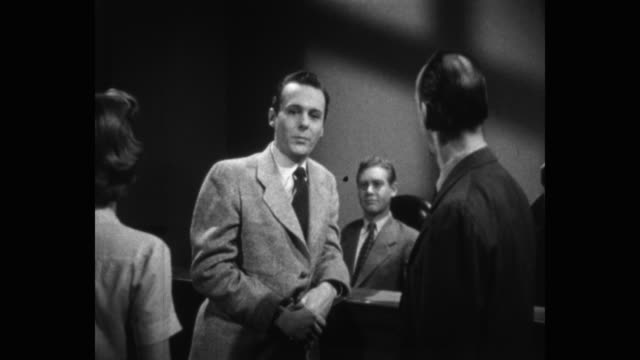 zoom in shot of debate between men in courtroom - mid adult men stock videos & royalty-free footage