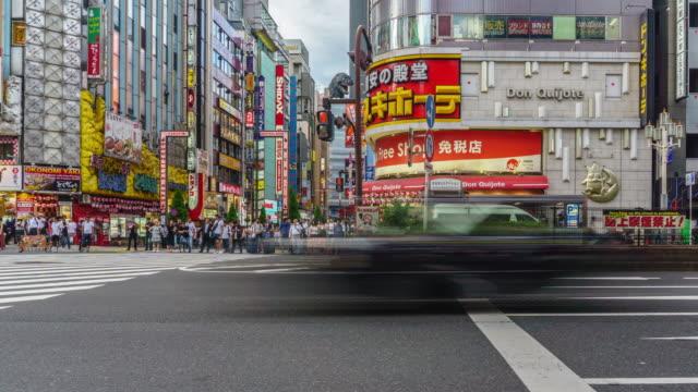 4k zoom in timelapse : kabukicho crossing in shinjuku tokyo, japan - restlessness stock videos and b-roll footage