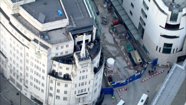 Zoom in to and out from BBC Broadcasting House London Available in HD.
