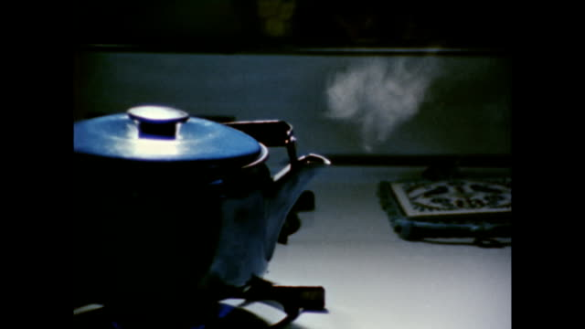 / zoom in to boiling tea kettle on stove steaming tea kettle on stove on january 01 1971 - やかん点の映像素材/bロール